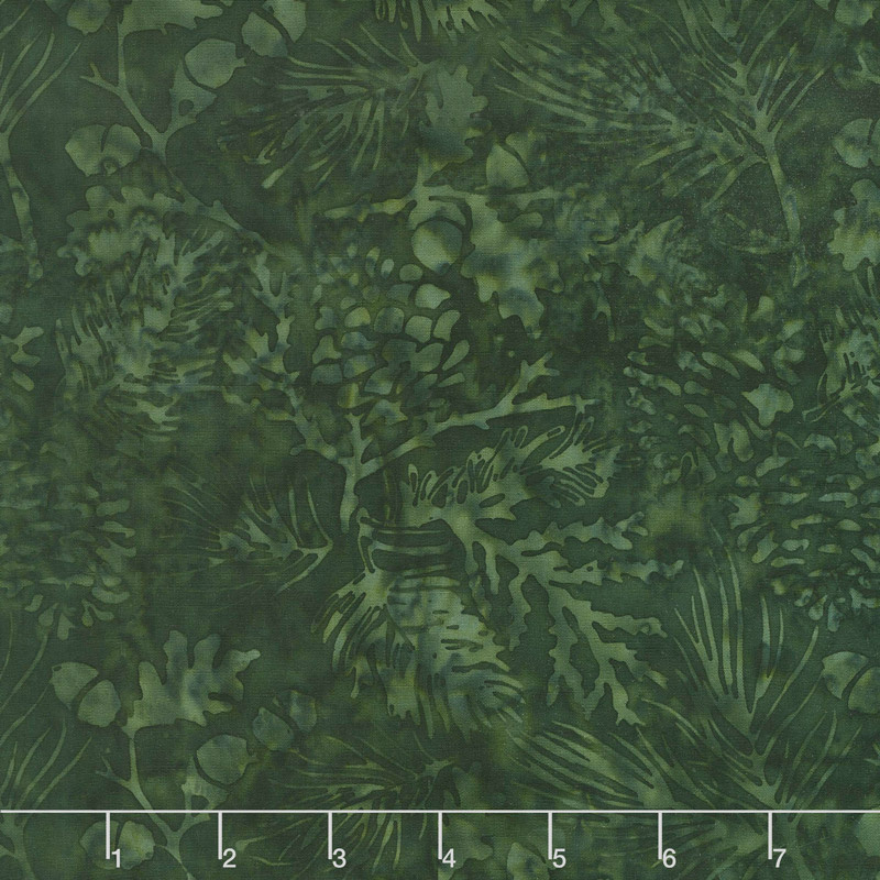 Candy Cane Lane Batiks - Pine Leaf Forest Yardage