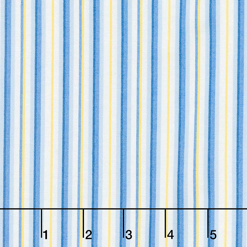 Fresh as a Daisy - Crisp Little Stripe Blue Sunshine Yardage