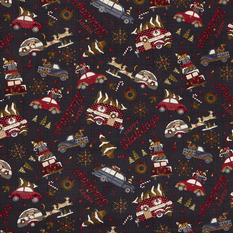 Buttermilk Winter - Novelty Toss Black Yardage