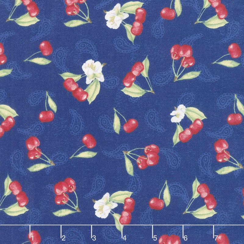 Berry Sweet - Tossed Cherries Blue Yardage