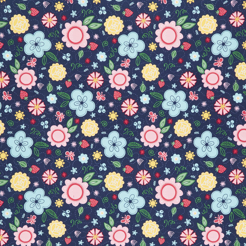 Flutter and Shine - Floral Navy Yardage