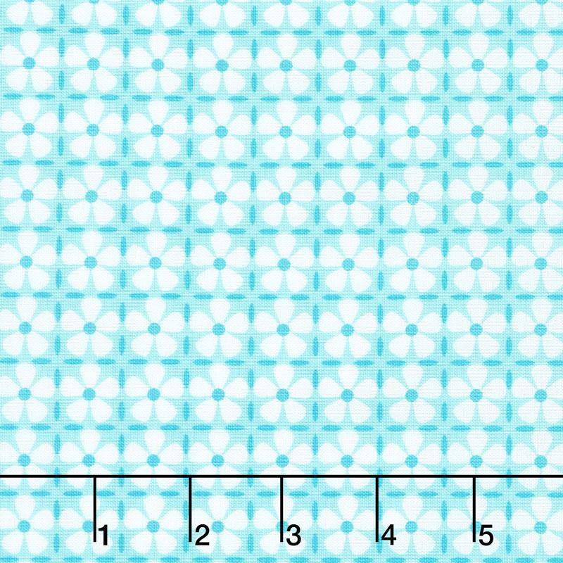 Confetti - Flower Grid Turquoise Yardage