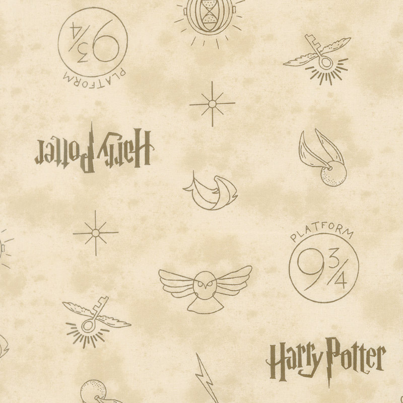 Tan Harry Potter Wizarding World Fantastic Beasts Logo /& Creatures bty