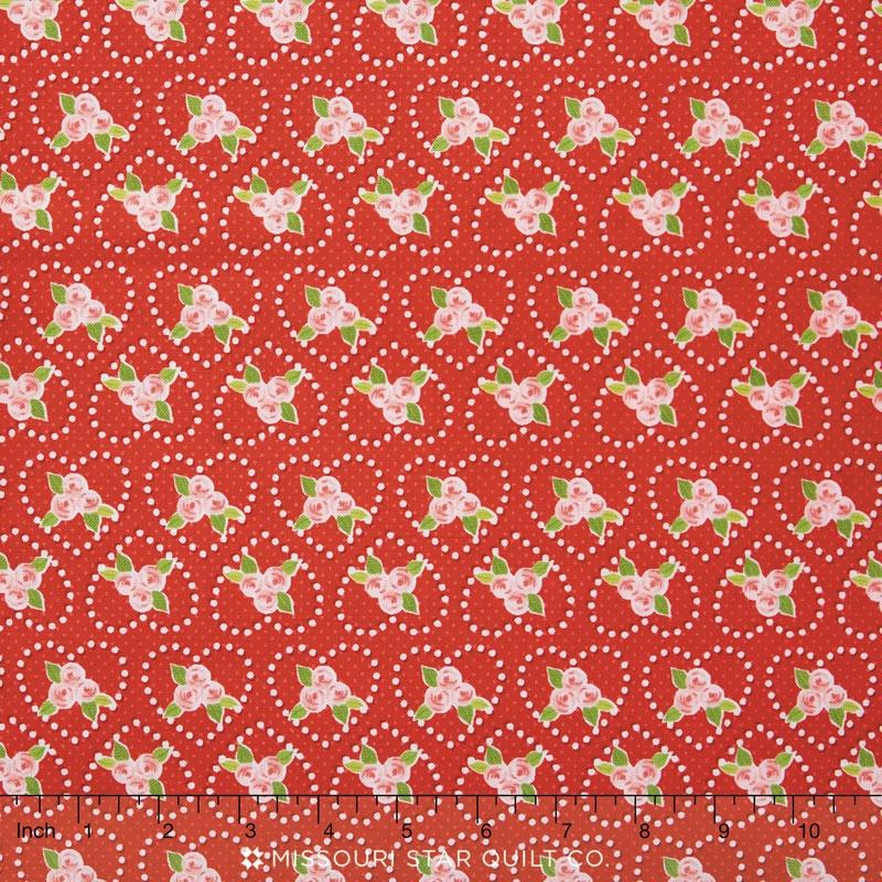Kewpie Love - Rose Red Yardage
