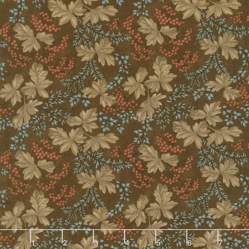 Collection for a Cause - Heritage 10th Anniversary Leaves & Berries Dark Brown Yardage