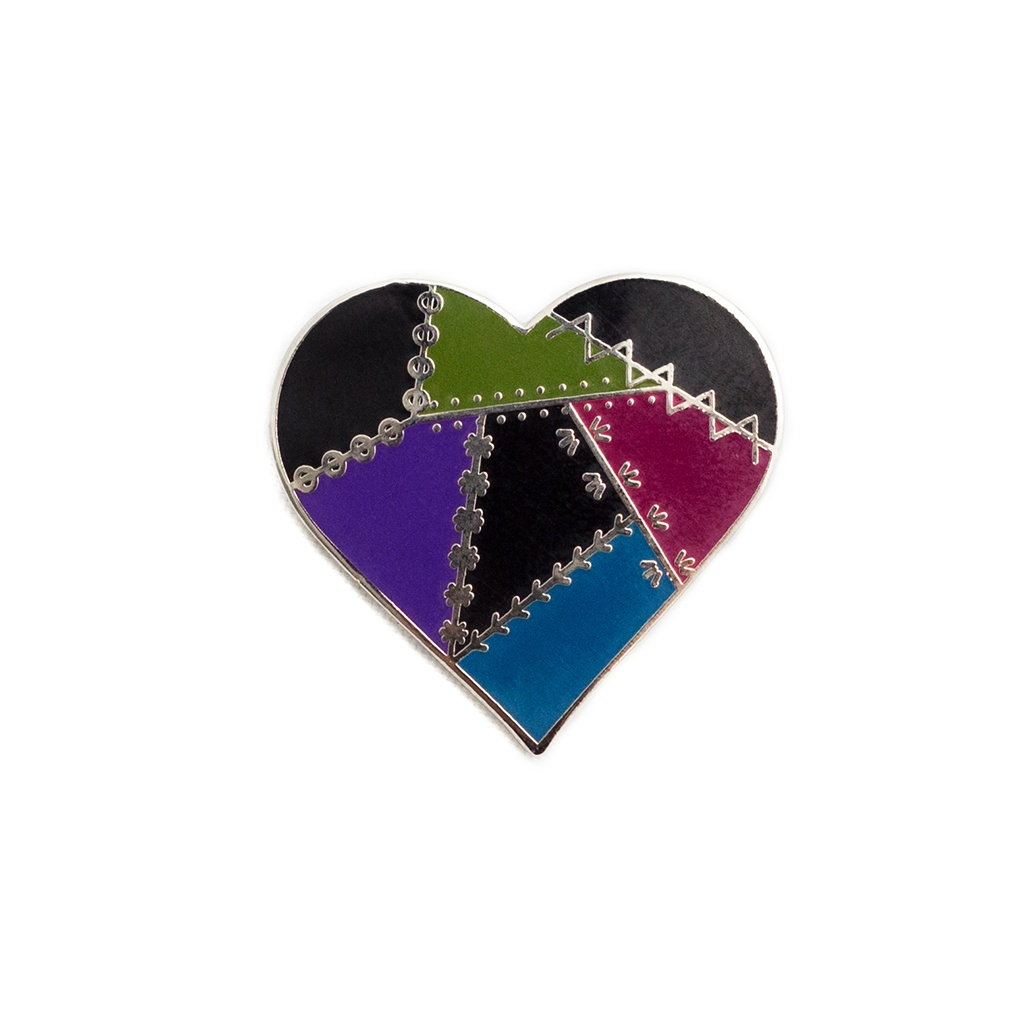 Dark Patched Heart Pin by Pin Peddlers