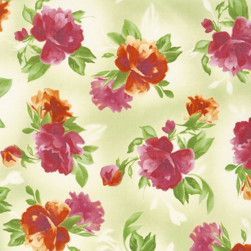 Paradise - Spaced Floral Soft Green Yardage