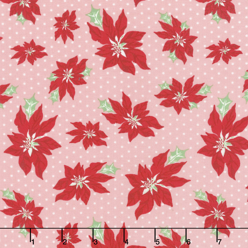 Sweet Christmas - Poinsettia Pink Buttermint Yardage