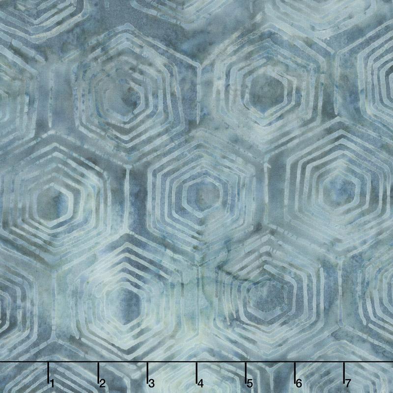 Baker's Dozen Batiks - Hexi Marled Blue Yardage