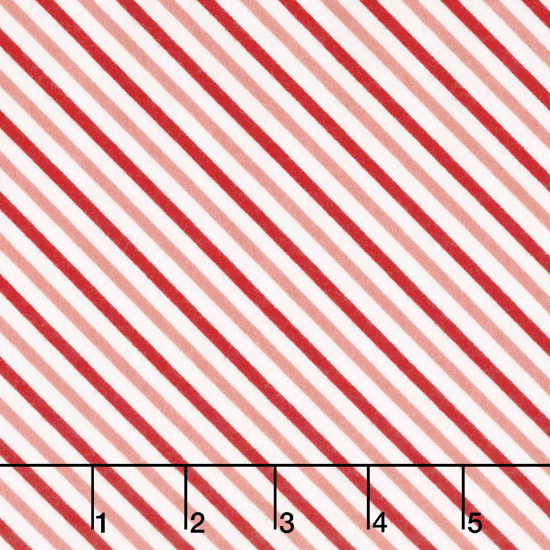 Vintage Holiday - Bias Candy Stripe Red Pink Flannel Yardage