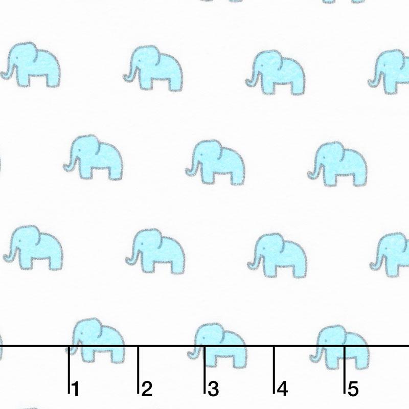 Little Safari - Aqua Colorstory Tiny Elephants Aqua Flannel Yardage