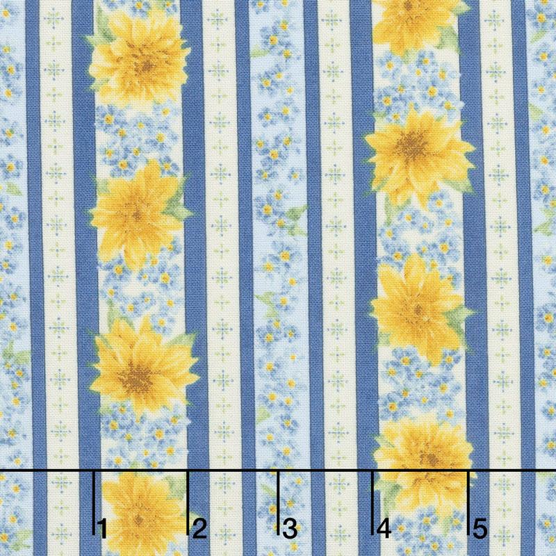 Gardenside Path - Stripes Blue Yardage