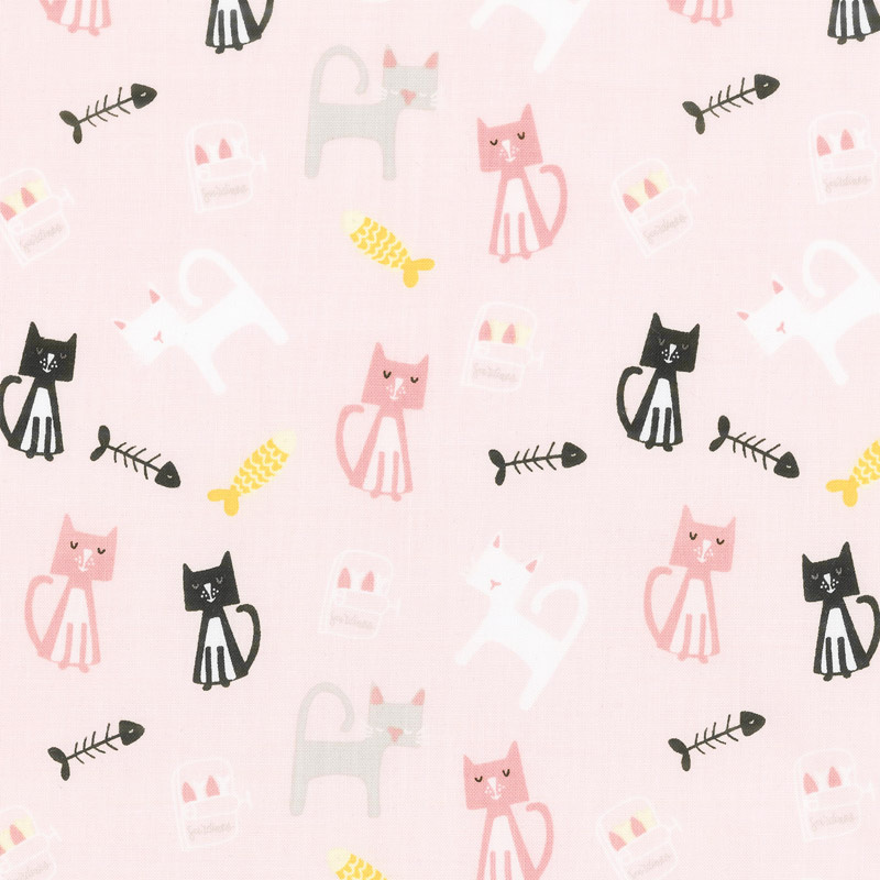 Meow and Forever - Cats Pink Yardage