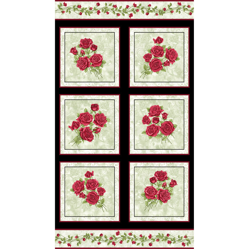 A Festival of Roses - Festive Roses Green Pearlized Panel