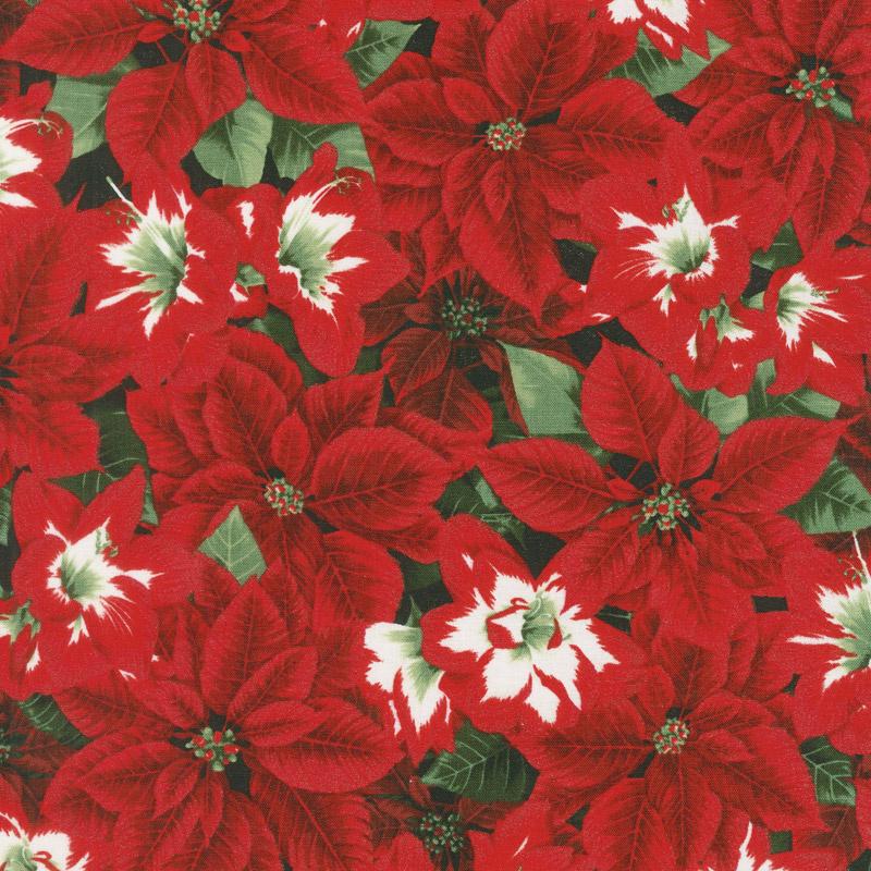 Let It Sparkle - Amaryllis Beauties Radiant Pine with Red Glitter Yardage