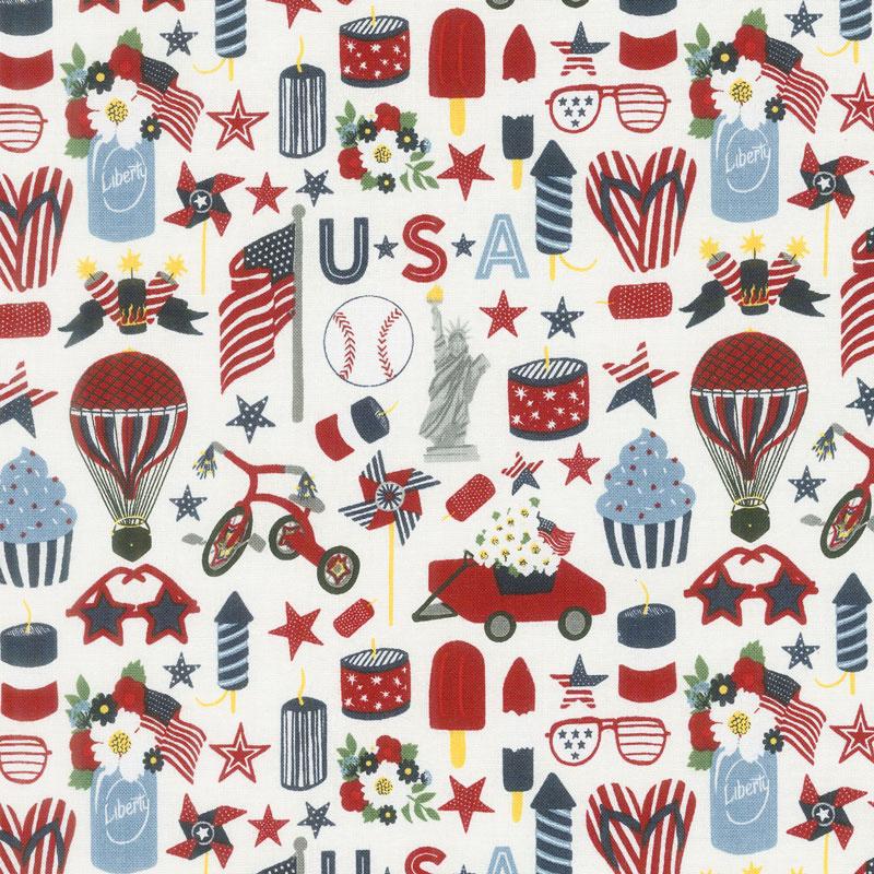 Celebrate America! - Icons Cream Yardage