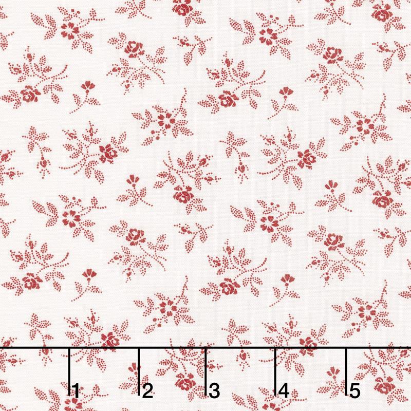My Redwork Garden - Flirty Fleurs Cream Red Yardage