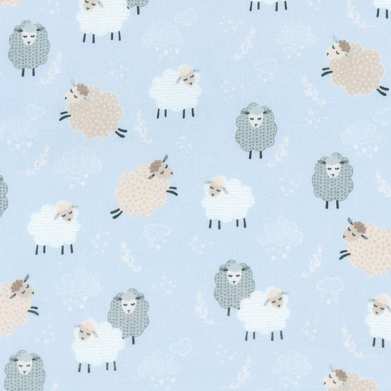Sweet Dreams - Dreamy Sheep Sky Blue Yardage