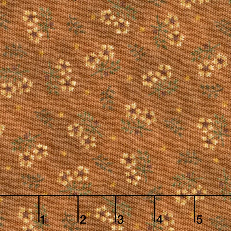 Wit & Wisdom - Floral Sprays Orange Yardage