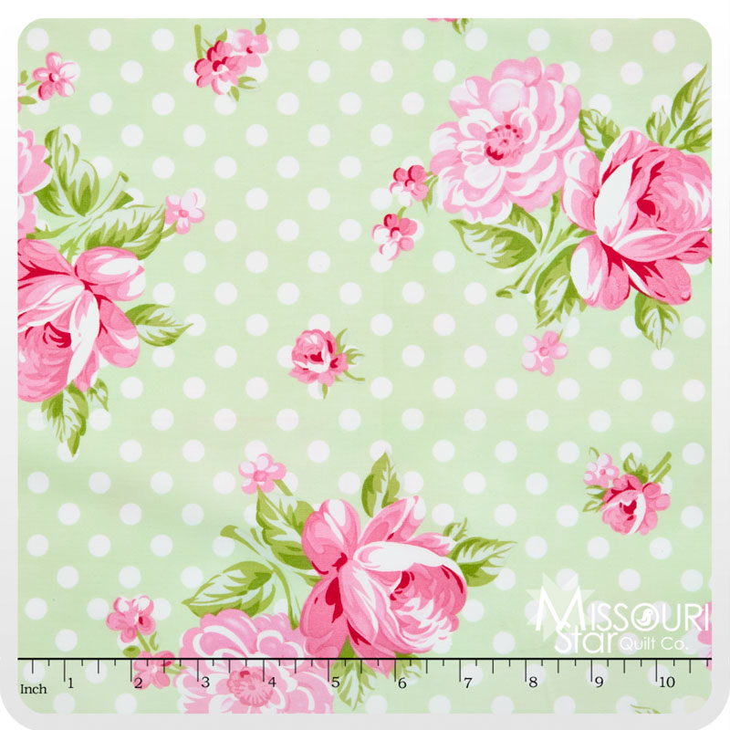 Rosey - Roses and Mums Green Yardage