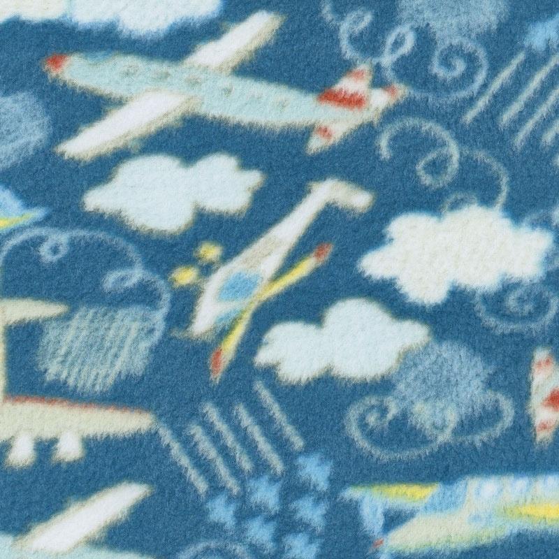 Fleece Novelty Prints - Planes Dark Blue Yardage