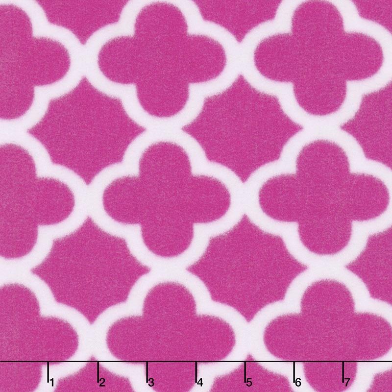 Winterfleece Prints Conversational - Quatrefoil Pink Fleece Yardage