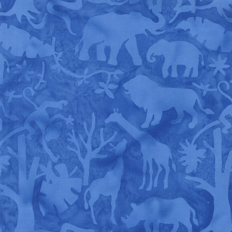 Petting Zoo Batiks - Jungle Animals Bluebird Yardage