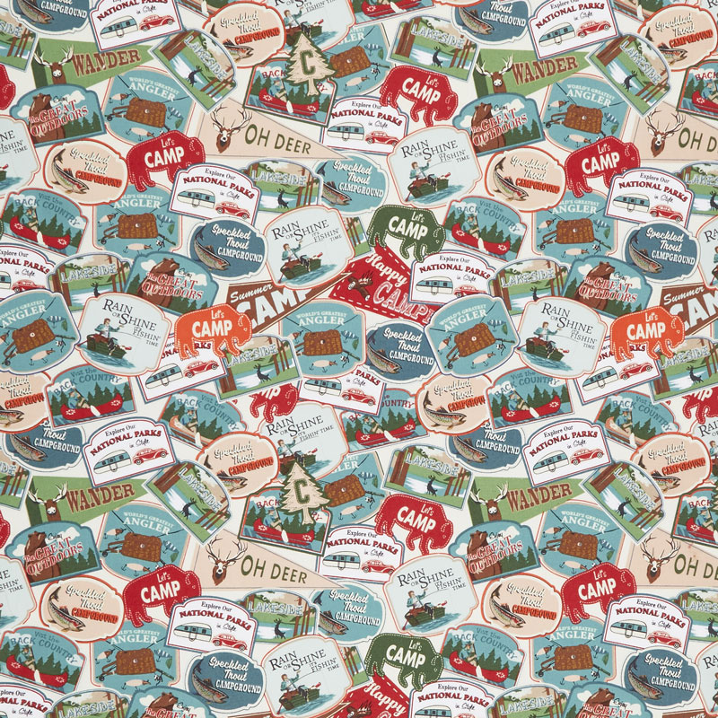 Gone Camping - Patches Red Yardage