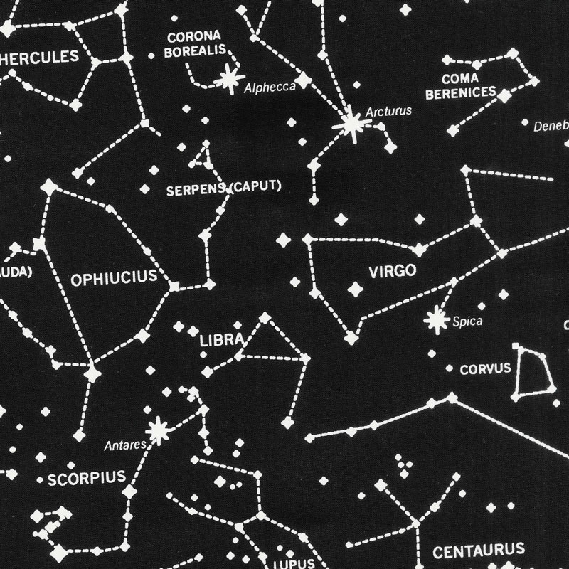 Spacewalk  Star Chart Black Glow In The Dark Yardage  Yolanda