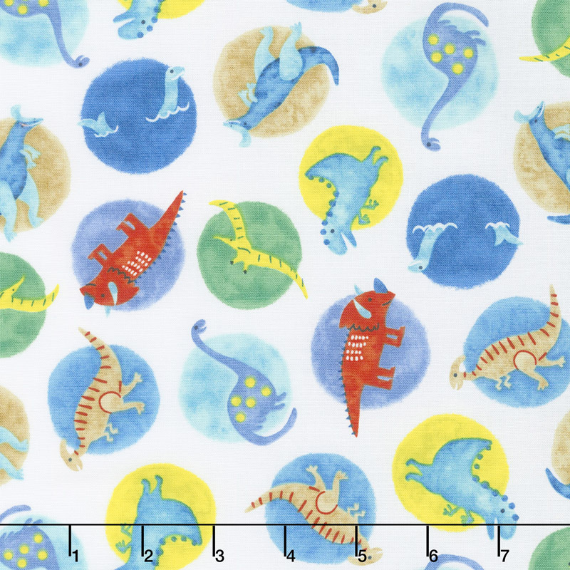 Hear Me Roar! - Big Dot Dinosaurs White Yardage