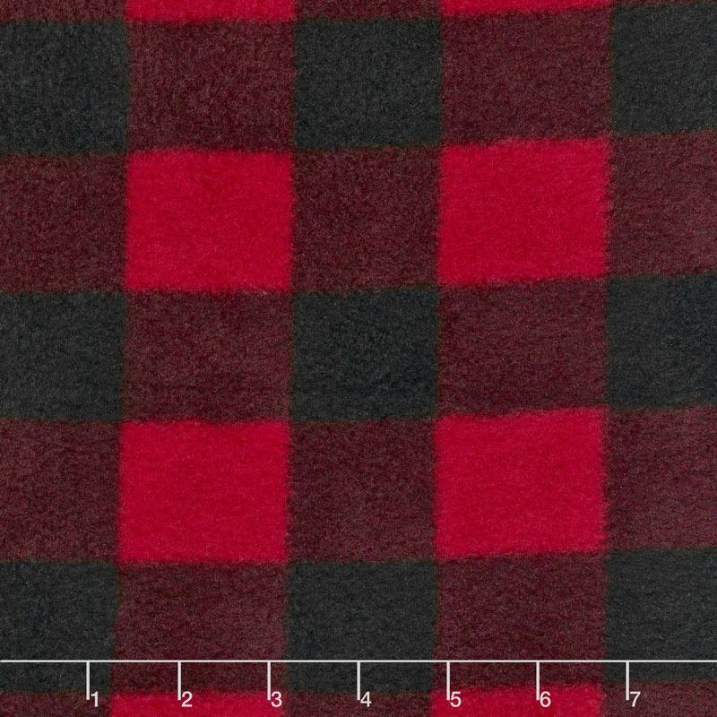 Fleece Plaids & Checks - Buffalo Plaid Black/Red Yardage
