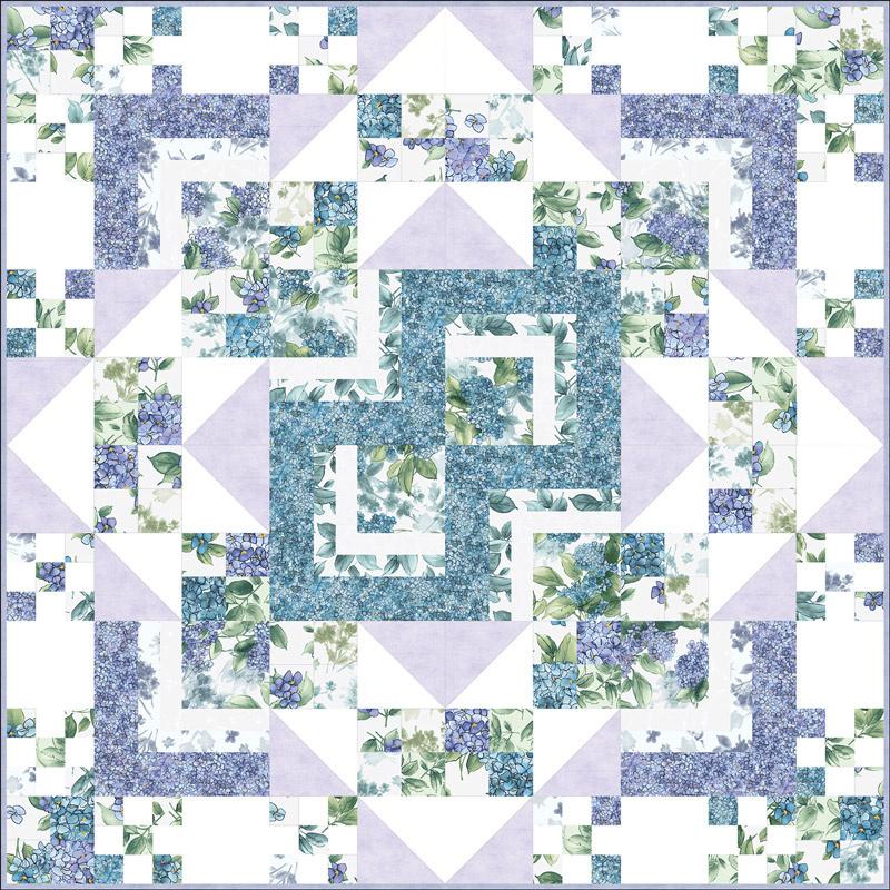 Watercolor Hydrangeas Cross Pod-inate 3-in-1 POD™ Quilt Kit