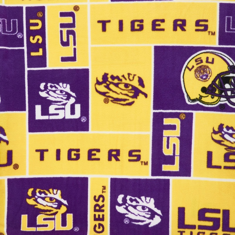 Fleece College - Louisana Tigers Purple Yardage
