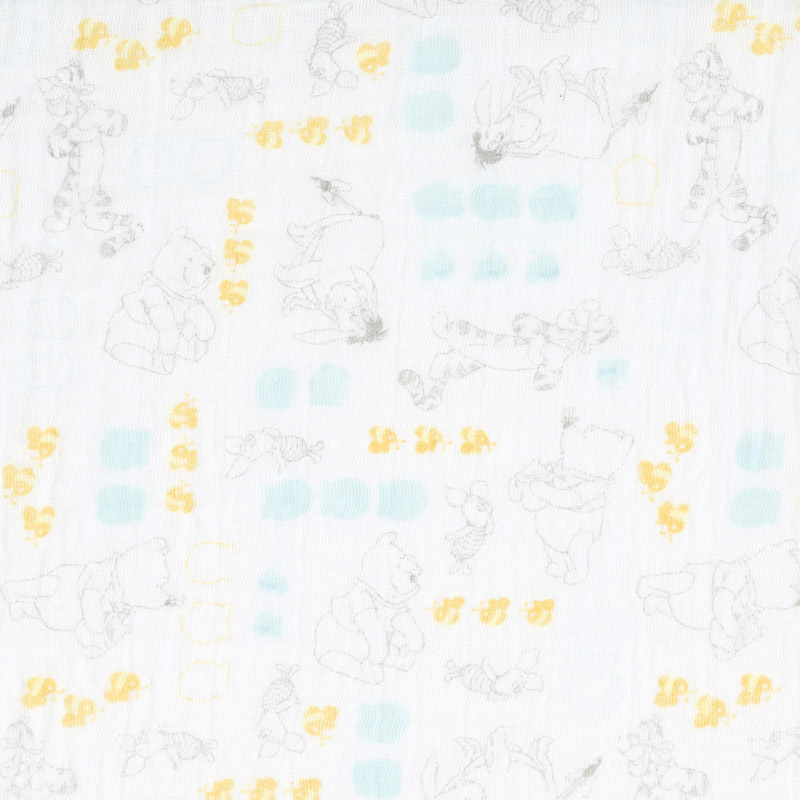 Cotton Muslin Double Gauze - WInnie the Pooh Characters in White Yardage