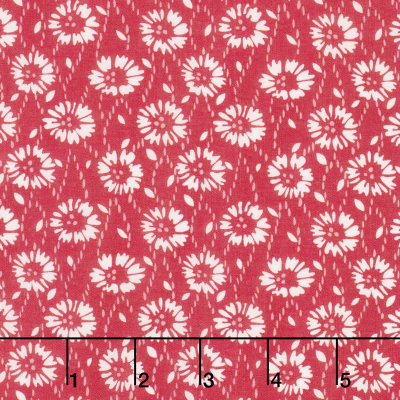 Floral Hues - Daisies Red Cotton Lawn Yardage