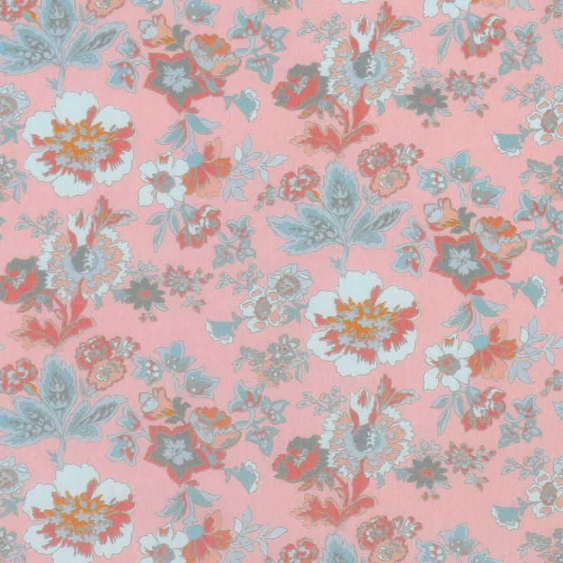 Floral Hues - Main Pink Cotton Lawn Yardage