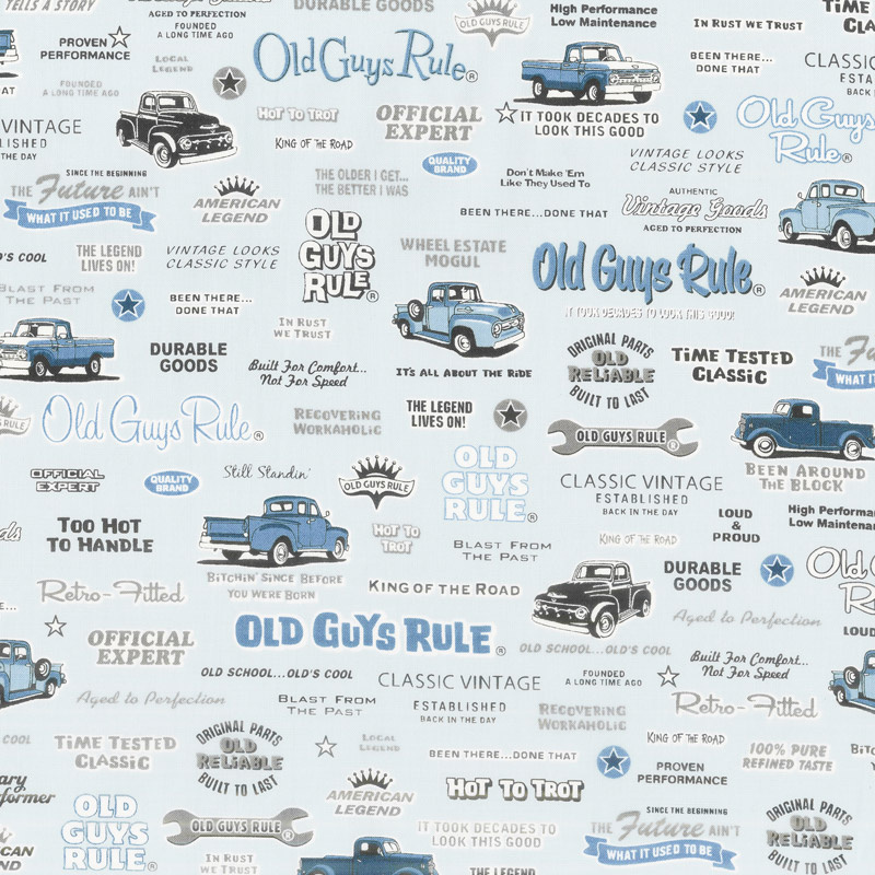 Old Guys Rule - Text Blue Yardage