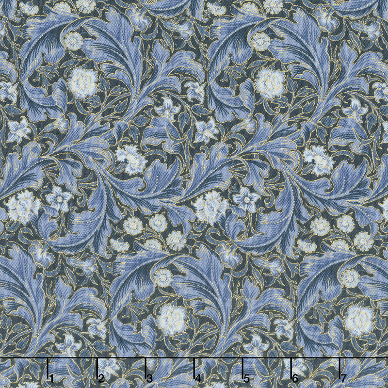 Morris Holiday 1912 - Leicester Indigo Metallic Yardage