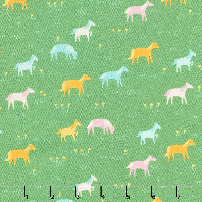 Best Friends Forever - Rainbow Ponies Green Yardage
