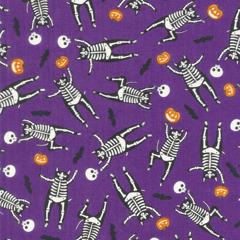 So Adora-Boo! - Skeletons Purple Glow in the Dark Yardage