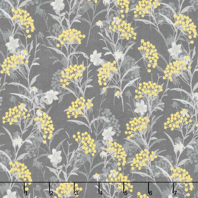 Marguerite - Button Flower Charcoal Yardage