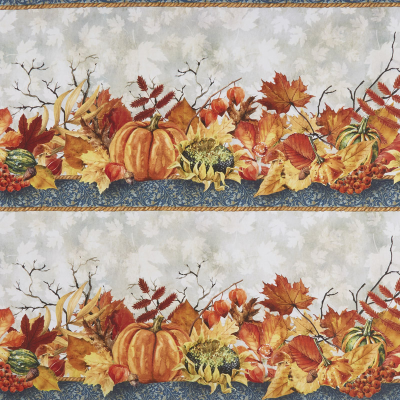 Our Autumn Friends - Border Stripe Taupe Yardage