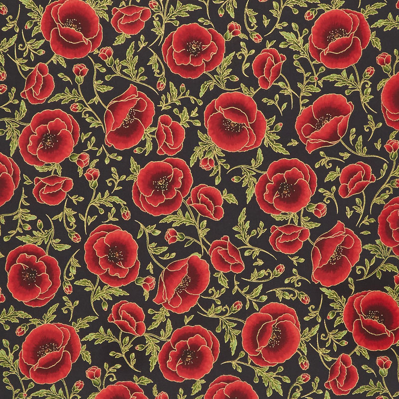 Gilded Blooms - Poppies Poppy Metallic Yardage
