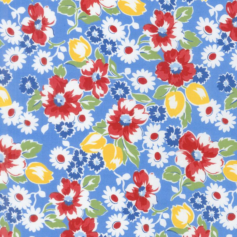 Sugar Sack - Sugar Sack Floral Blue Yardage
