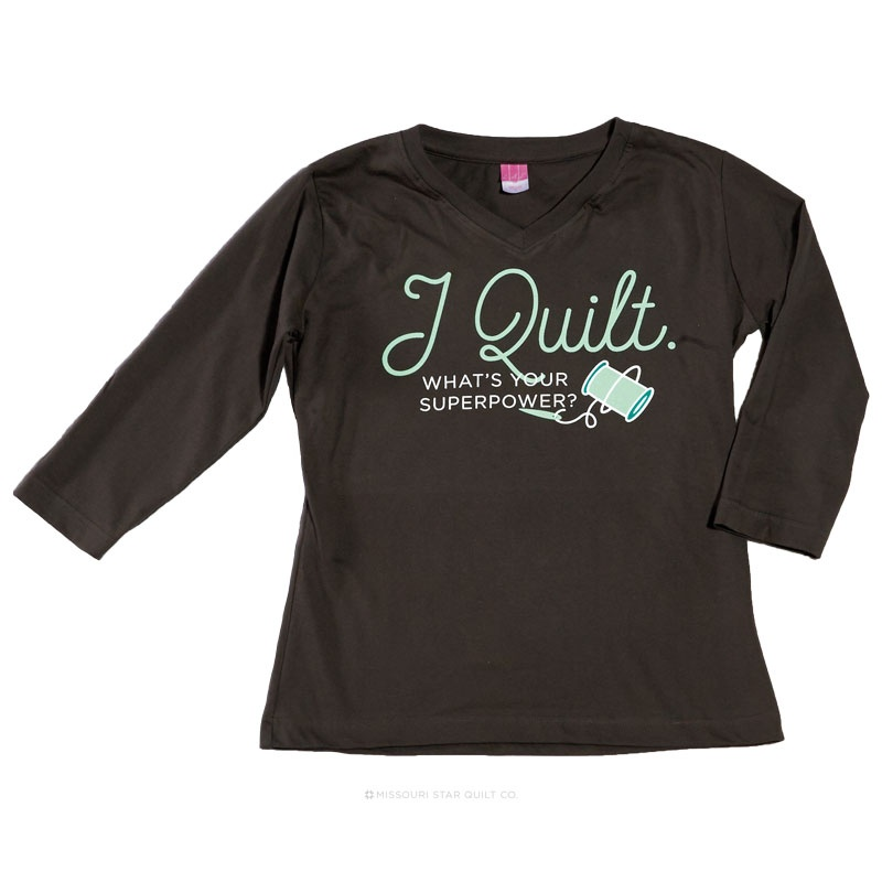 I Quilt What's Your Superpower Charcoal Women's Fitted V-Neck 3/4 Sleeve T-Shirt - Large