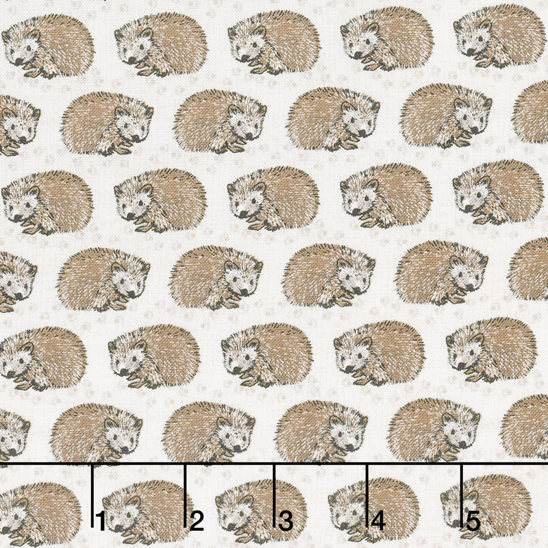 Woodland Pitter Patter - Hedgehogs Light Taupe Yardage