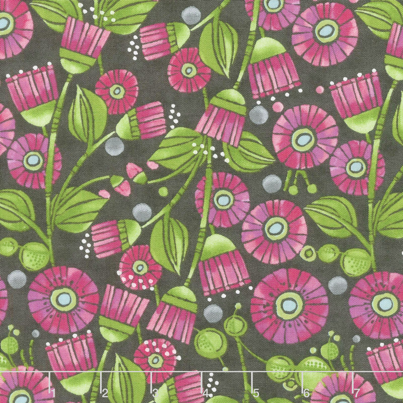 Sweet Pea & Lily - Aster Flowers Stormy Yardage