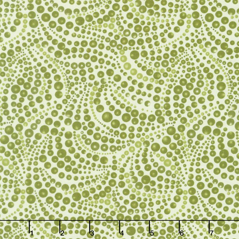 Cat - i - tude - Beaded Swirls Tonal Green Yardage