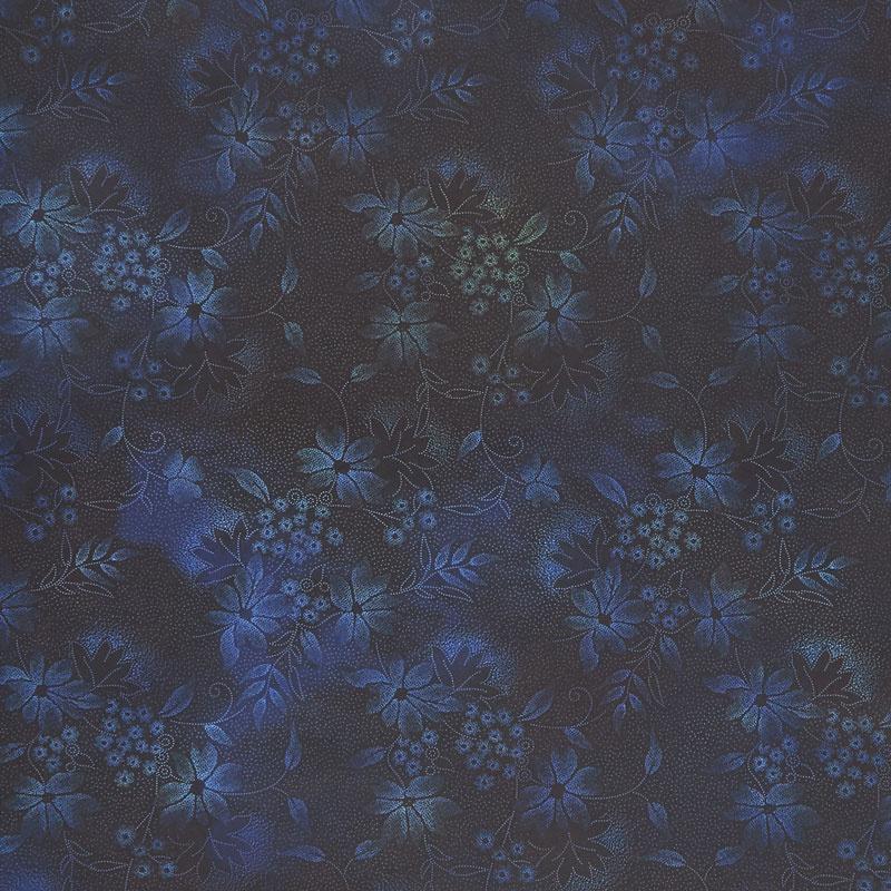 Seasons - Night Flowers Blue Digitally Printed Yardage