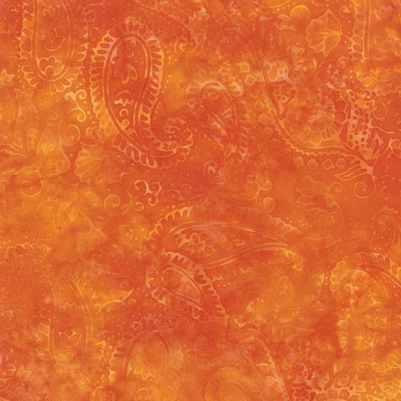 Moroccan Bazaar Batiks - Paisley Outlining Nasturtium Yardage